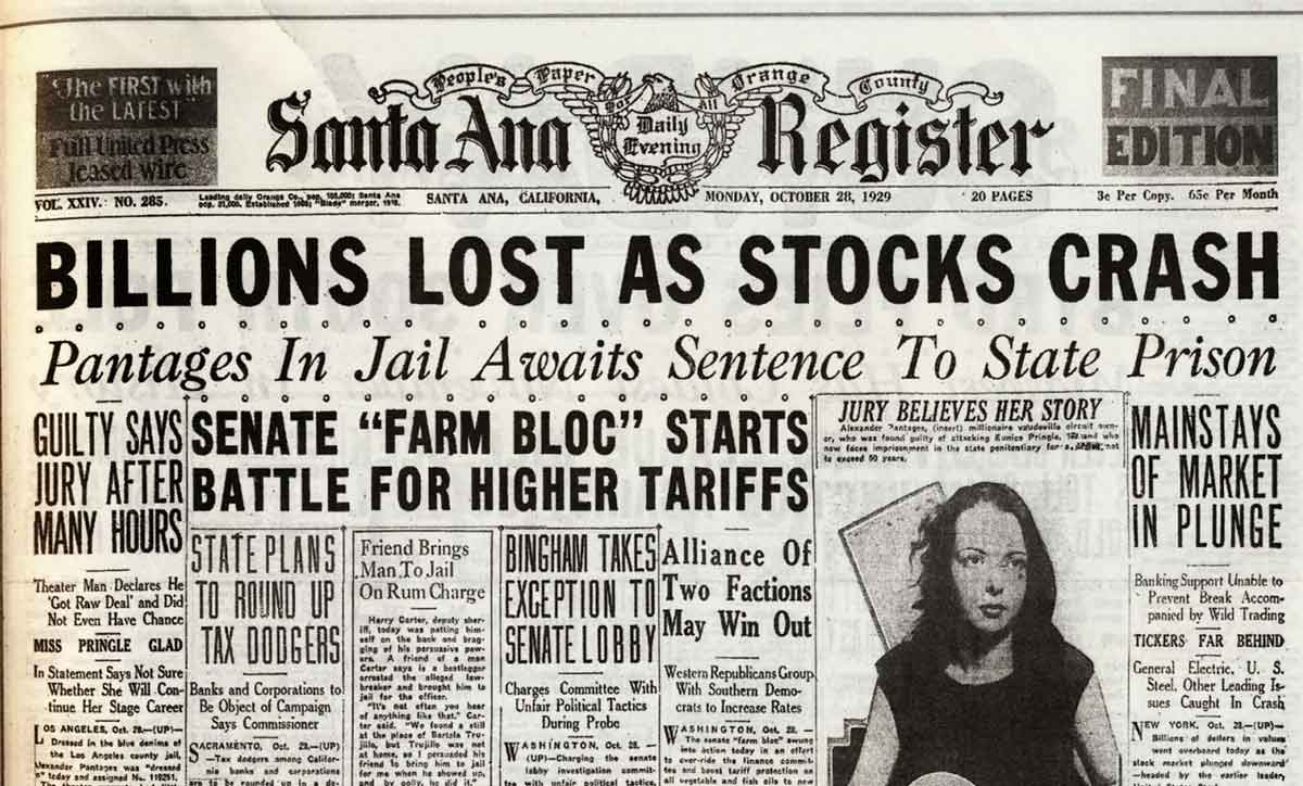1929 Wall Street Crash Newspaper