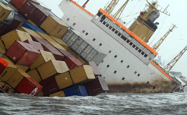 Containers Falling Cargo Ship